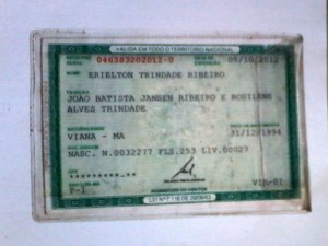 RG: Erielton Trindade Ribeiro de 21 anos