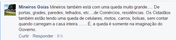Comentário sobre a impressão a respeito da criminalidade na cidade de Mineiros - Facebook - Grupo Mineiros-GO