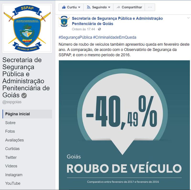 Publicação Secretaria da Segurança Pública - Facebook
